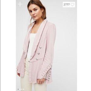 Free People Flared Sleeve Blazer Mink Pink